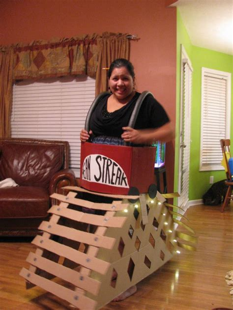 Home-made roller coaster costume with working lights! It