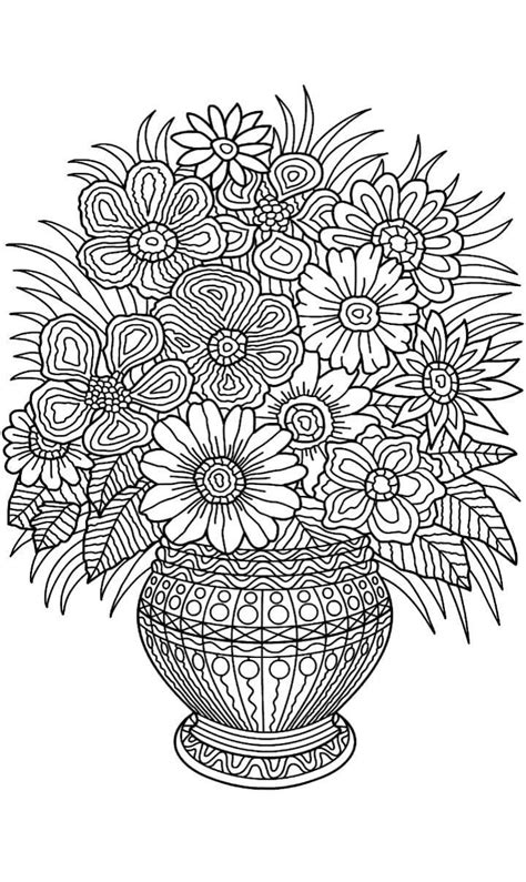 Colouring Pages Flowers In A Vase   Omalovánky mandaly