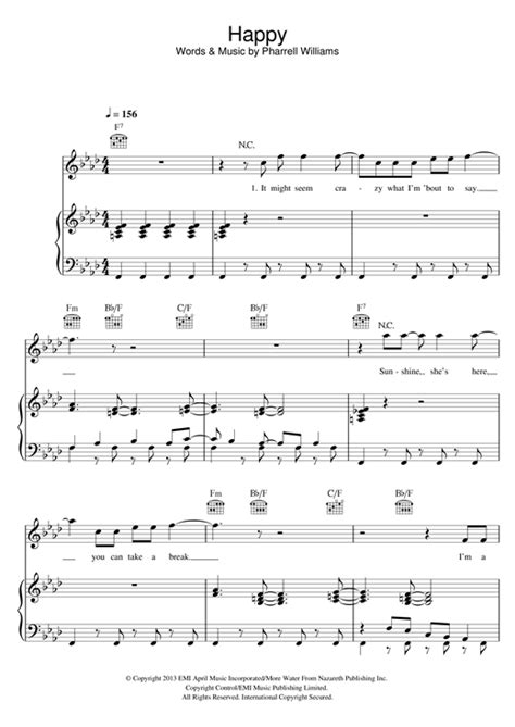 Happy sheet music by Pharrell Williams (Piano, Vocal